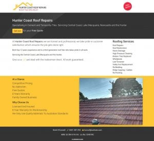 Web Design Hunter Coast Roof Repair
